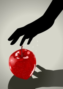 Silhouette illustration of a woman hand grabbing an apple